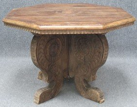 ITALIAN CARVED WALNUT INLAID CENTER TABLE Late 18t