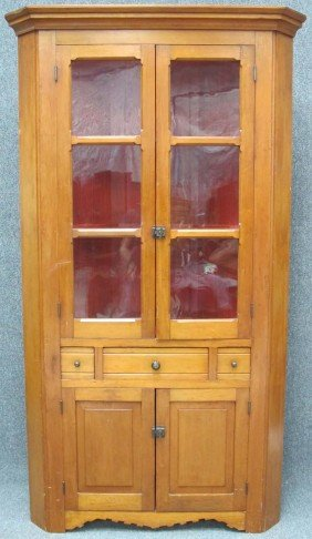 EARLY AMERICAN PINE GLASS FRONT CORNER CABINET Heig