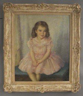 M.ASKENAZY, O/C Portrait Of Girl Circa 1951 Sight: