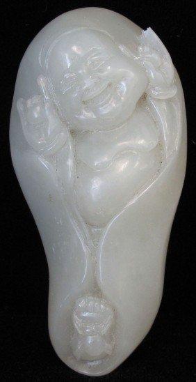 "CARVED WHITE JADE BUDDHA Length- 3 1/2"""