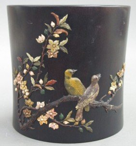 CARVED WOOD BRUSH POT With Carved Stone Decorat