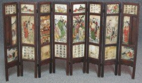 CHINESE EIGHT PANEL PAINTED MARBLE DRESSING SCR