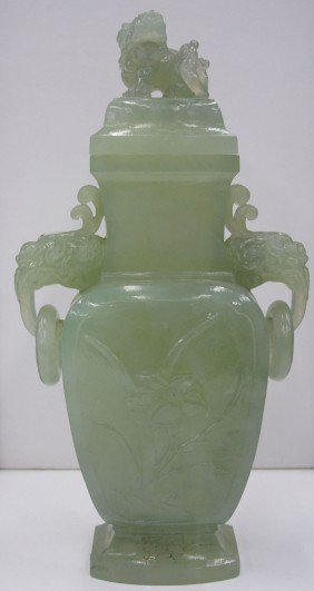 CARVED JADEITE URN With Lion Height- 8""