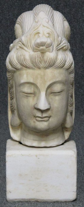 CARVED STONE QUAN YIN BUST Height- 16 1/2""