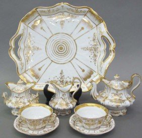 PORCELAIN EIGHT PIECE CONTINENTAL TEA SERVICE C