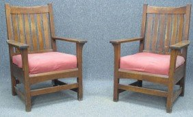 "PAIR OF L & JG STICKLEY ARM CHAIRS Height- 40"","