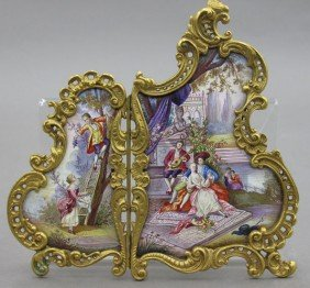 FRENCH TWO PART ENAMELED MINIATURE SCREEN Heigh