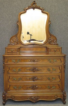 VICTORIAN FRENCH CARVED ROCCO WALNUT DRESSER He