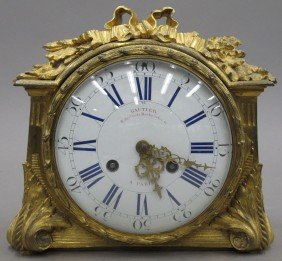 FRENCH BRONZE SALON CLOCK Marked Paris Height-