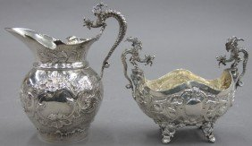 VICTORIAN SILVER WINGED GRIFFIN SUGAR AND CREAM