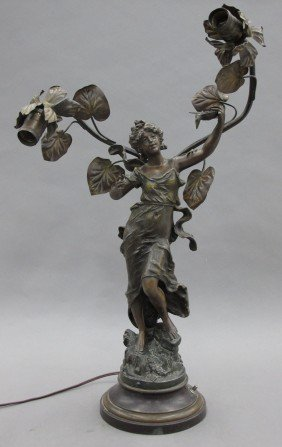 FRENCH FIGURAL SPELTER LAMP Height- 25""