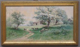 CARL WEBER WATERCOLOR LANDSCAPE With Sheep Sigh