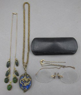 LOT WITH (2) NECKLACES AND SPECTACLES