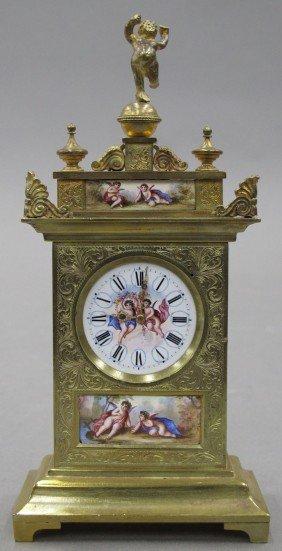 FRENCH BRONZE ENAMELED MINIATURE CLOCK
