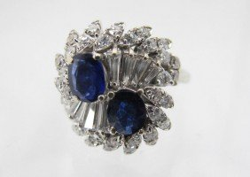 18KT DIAMOND AND SAPPHIRE RING