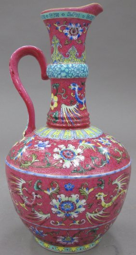 CHINESE FAMILLE ROSE ENAMELED AND PAINTED URN Wi