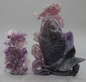 LOT OF (2) AMETHYST CARVINGS Koi Fish And Vase H