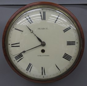 ENGLISH MAHOGANY FUSEE WALL CLOCK Marked Pearce,