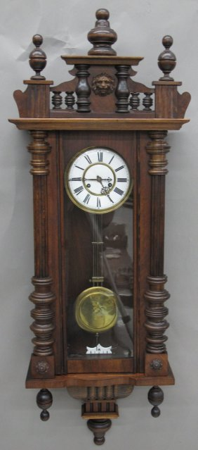 GERMAN WALNUT REGULATOR WALL CLOCK Length- 49""