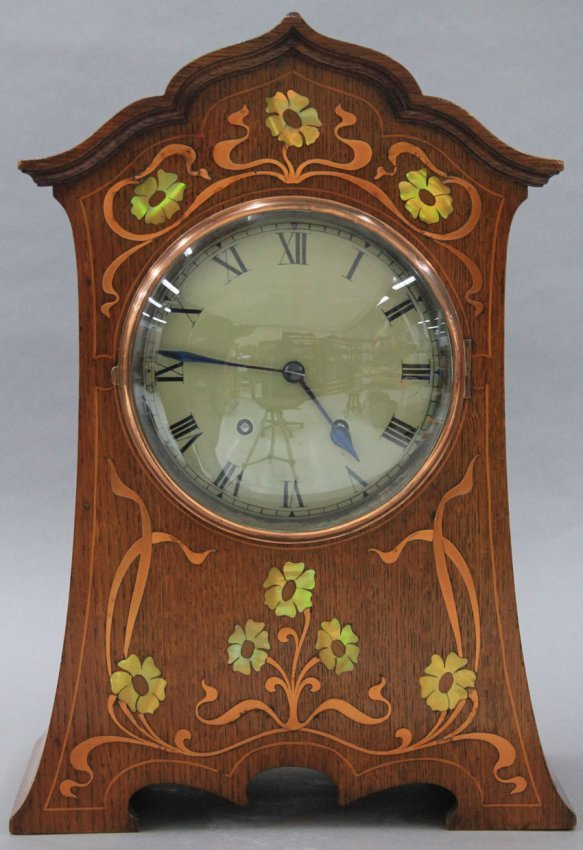 Arts and crafts oak mantle clock with brass and lot 2001 for Arts and crafts mantle clock