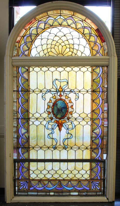 Victorian Stained Glass Arch Top Window Lot 1054