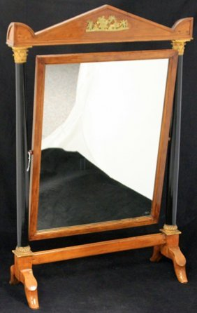 French Empire Dressing Mirror With Metal Mounts