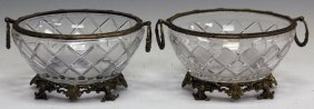 Pair Of French Style Crystal And Metal Bowls