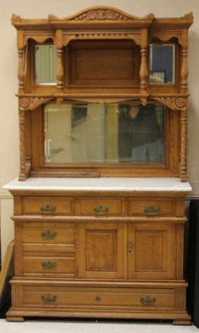Victorian Carved Oak Sideboard With Cast Iron Safe