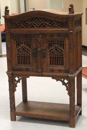 French Carved Oak Gothic Cabinet
