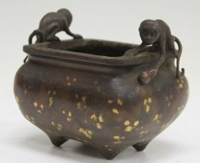 Chinese Cast Metal Figural Footed Censer