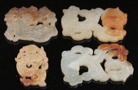 Lot Of (4) Chinese Serpentine Carvings