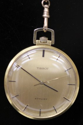 14kt Tissot Open Face Pocket Watch
