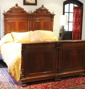French Style Carved Walnut Bed