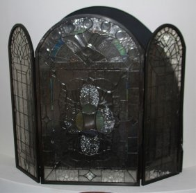 Contemporary Beveled Glass Fireplace Screen