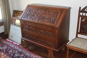 Early 20th Century Carved Oak Writing Desk