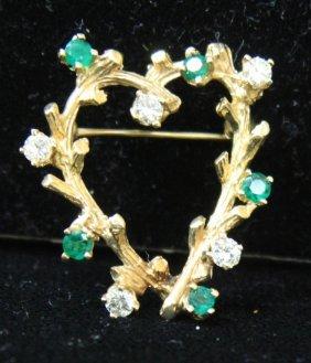 Lady's 14kt Diamond And Emerald Pin