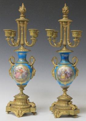 Pair Of Sevres Porcelain And Bronze Candelabras