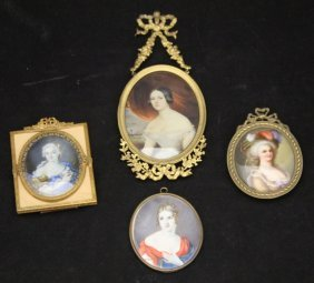 Lot Of (4) French 19th Century Miniature Portraits