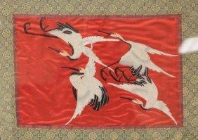 Vintage Japanese Silk Tapestry, Cranes