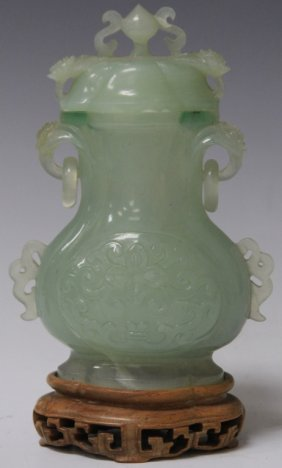 Vintage Chinese Jade Carved Urn W/ Stand