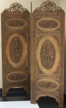 South East Asian Carved Wood Dressing Screen