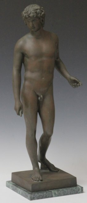 Vintage Bronze Figure Of Male Nude