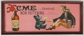 1940s Framed Acme Beer Sign - Pin Up Art