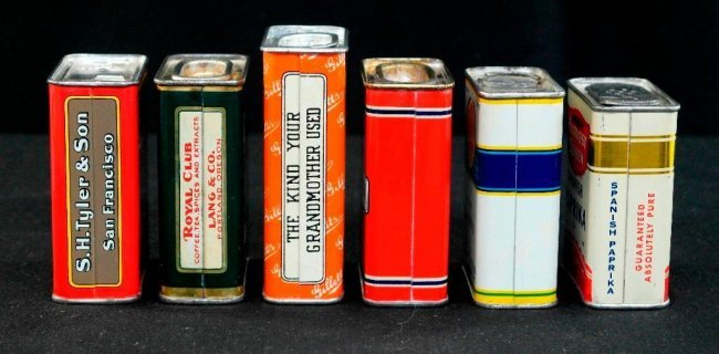 Lot of 6 vintage tin litho spice tins lot 63 for Retro kitchen set of 6 spice tins