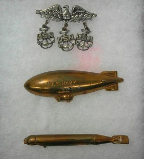 Three Pieces Of Solid Brass Wwii Navy-themed