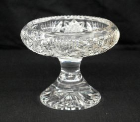 """Cut Crystal Footed Compote - 4-1/4"""" Tall - American"""