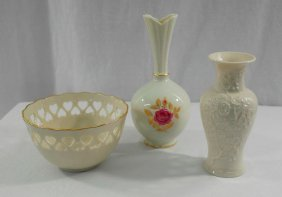 Three Pieces Of Lenox China: Two Small Vases And A