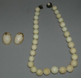 White Coral Necklace & Earrings