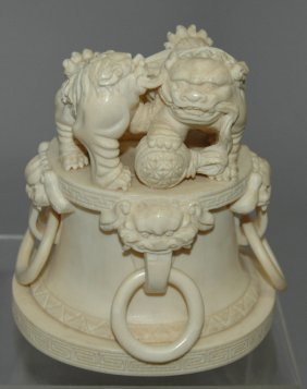 Carved Chinese Ivory Foo Dogs
