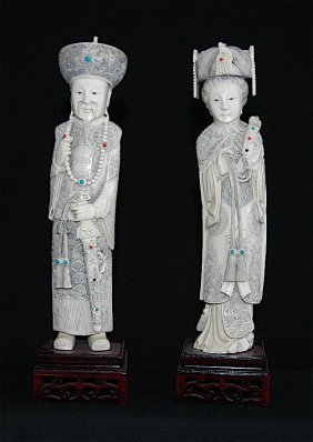 Carved Ivory Emperor And Empress